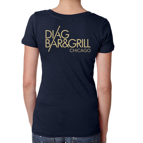 Diag V Neck Tee-Midnight Navy