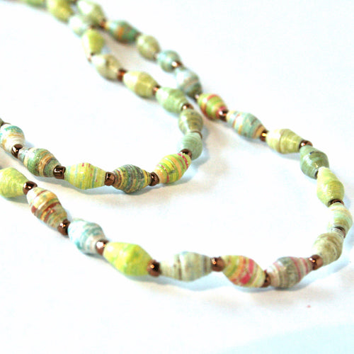 Paper Bead Rope Necklace
