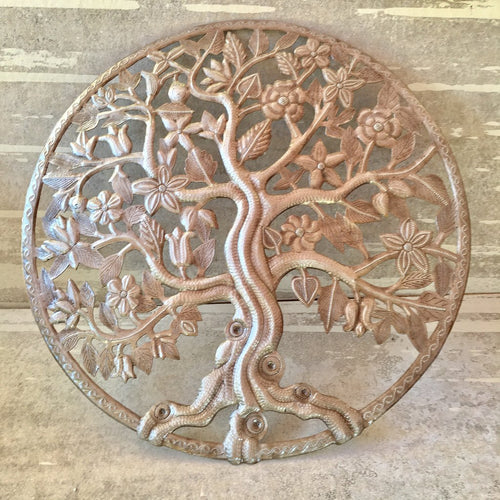 Large Round Tree of Life with Flowers - Metal Art
