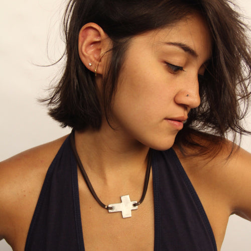 Leather Cross Necklace (2 colors avail!)