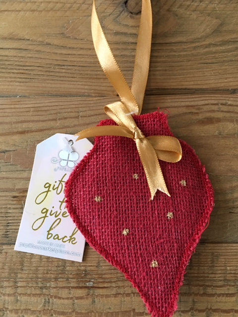 Red Burlap Ornament