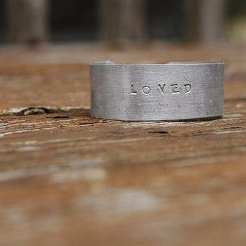 Hammered Aluminum Cuff - Loved