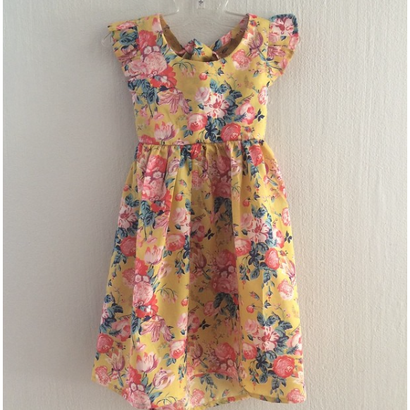 Liberty of London Yellow tie back dress