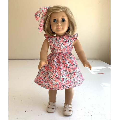 Liberty tie back doll dress - Love Sam
