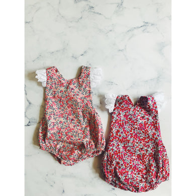 Liberty Wilshire romper with Broderie Anglaise flutters