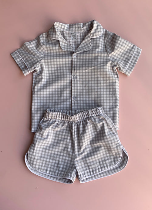Grey cotton gingham Pajamas - Love Sam