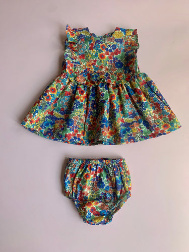 Liberty yellow and blue floral dress and diaper cover - Love Sam