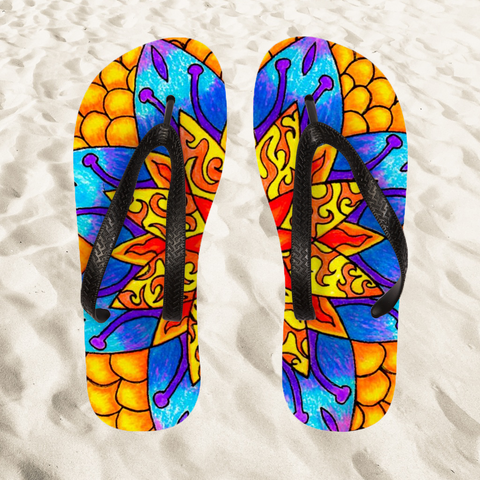 Flames and Flowers Flip Flops