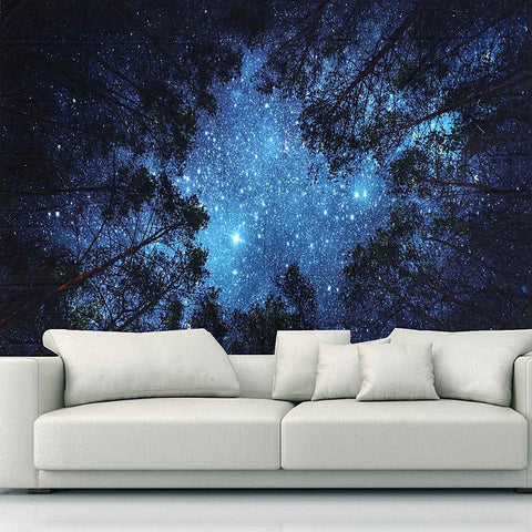 Starry Sky Above the Trees Tapestry