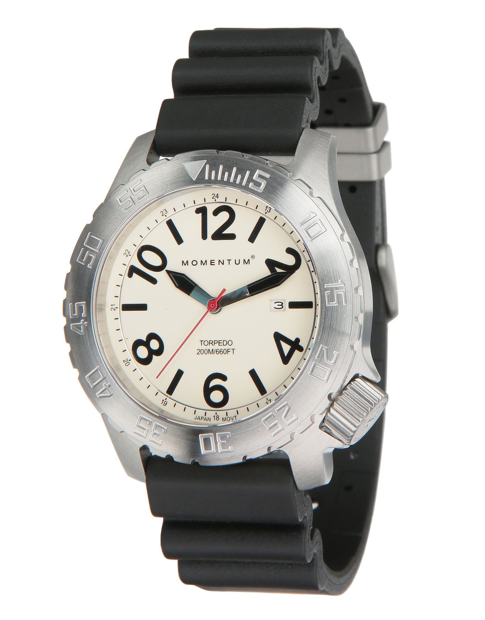 Image of Momentum Torpedo Rubber Watch - Black Face / Rubber Strap