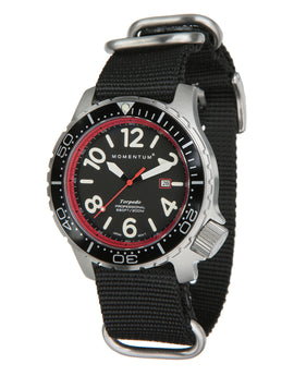 Momentum Torpedo Black NATO Watch - Black Face