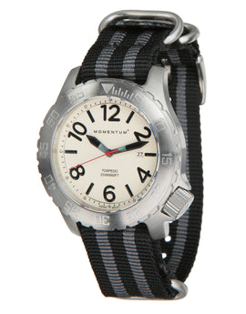 Momentum Torpedo NATO Stripe Watch - White Face