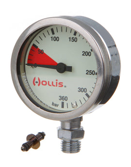Hollis Chrome Plated Brass Pressure Gauge