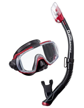 TUSA Visio Tri Ex Mask and Snorkel Set - Black Metallic Red 8694d58776