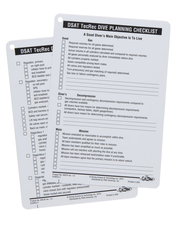 PADI Tec Dive Planning Checklist Slates