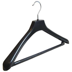 Broad Suit Hanger Black with Bar and Under Hooks