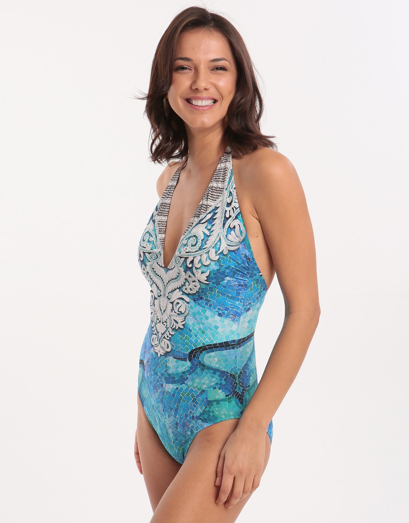 Gottex Felicity Halter Swimsuit - Multi Blue