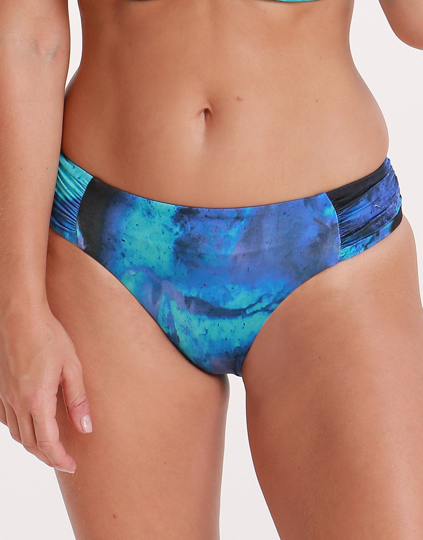 Seafolly Ocean Ombre Ruched Side Retro Bikini Bottom - Blue Opal