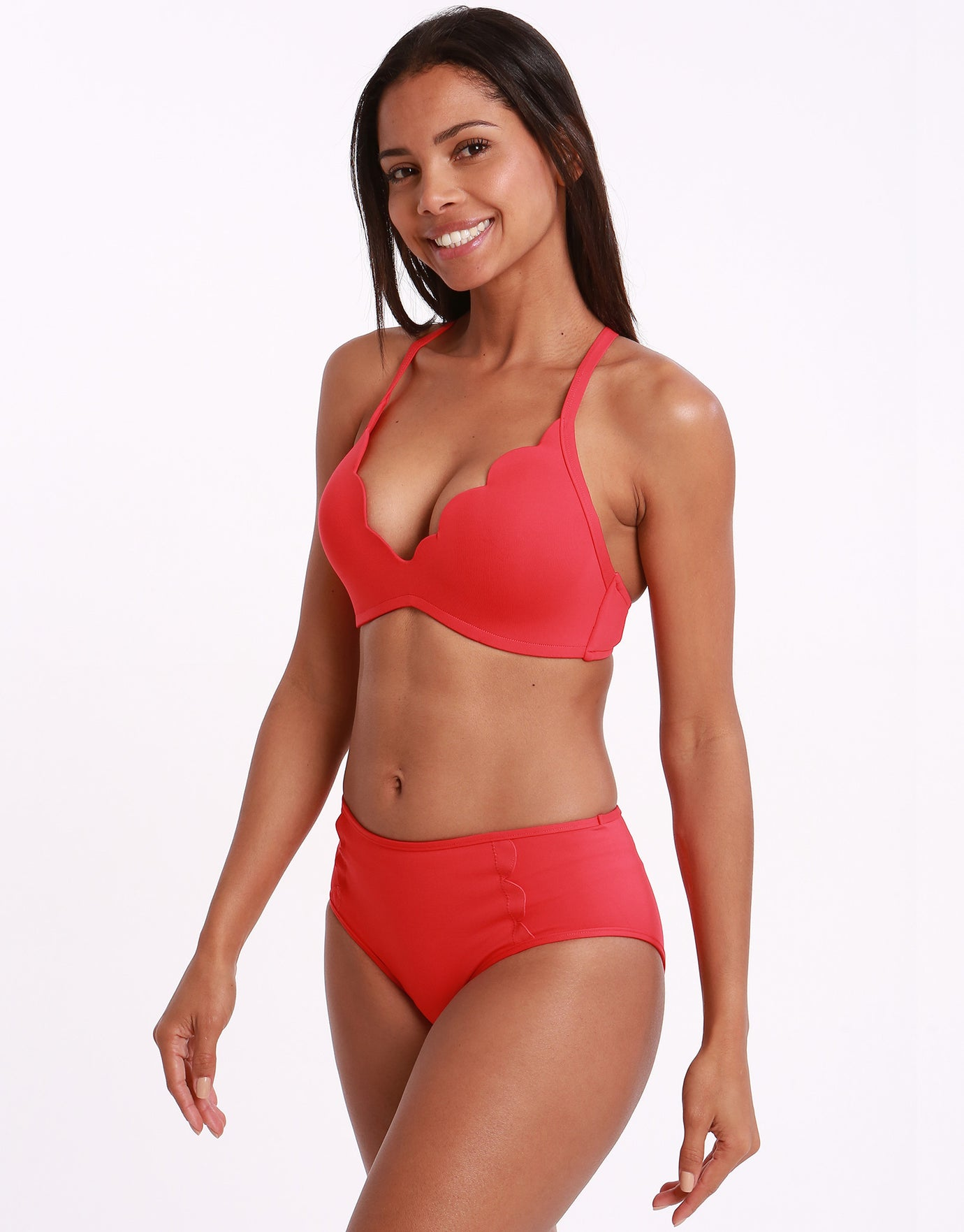 Seafolly Swim Petal Edge D Cup Bralette Bikini Top - Chilli