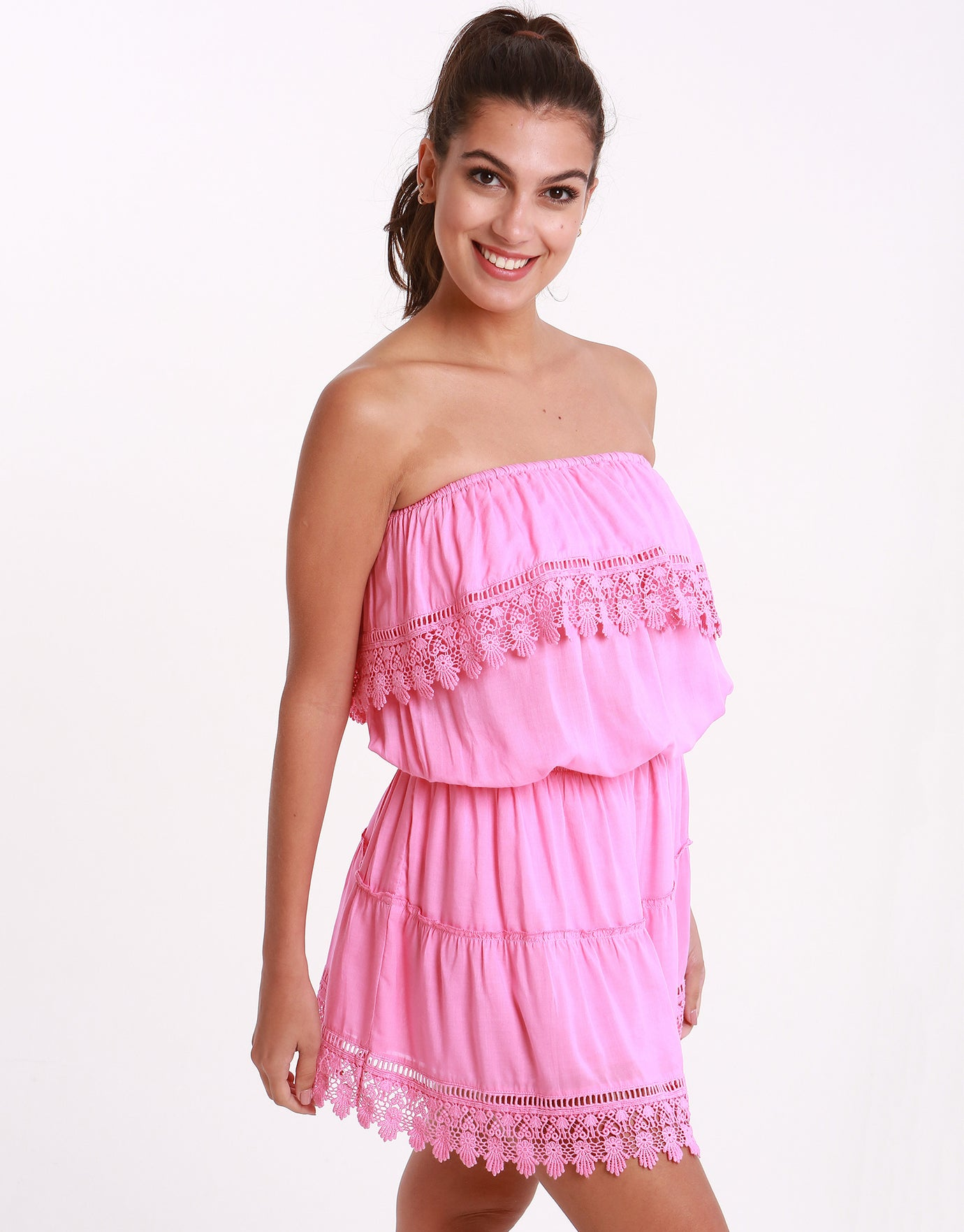 Melissa Odabash Joy Bandeau Short Dress - Rose
