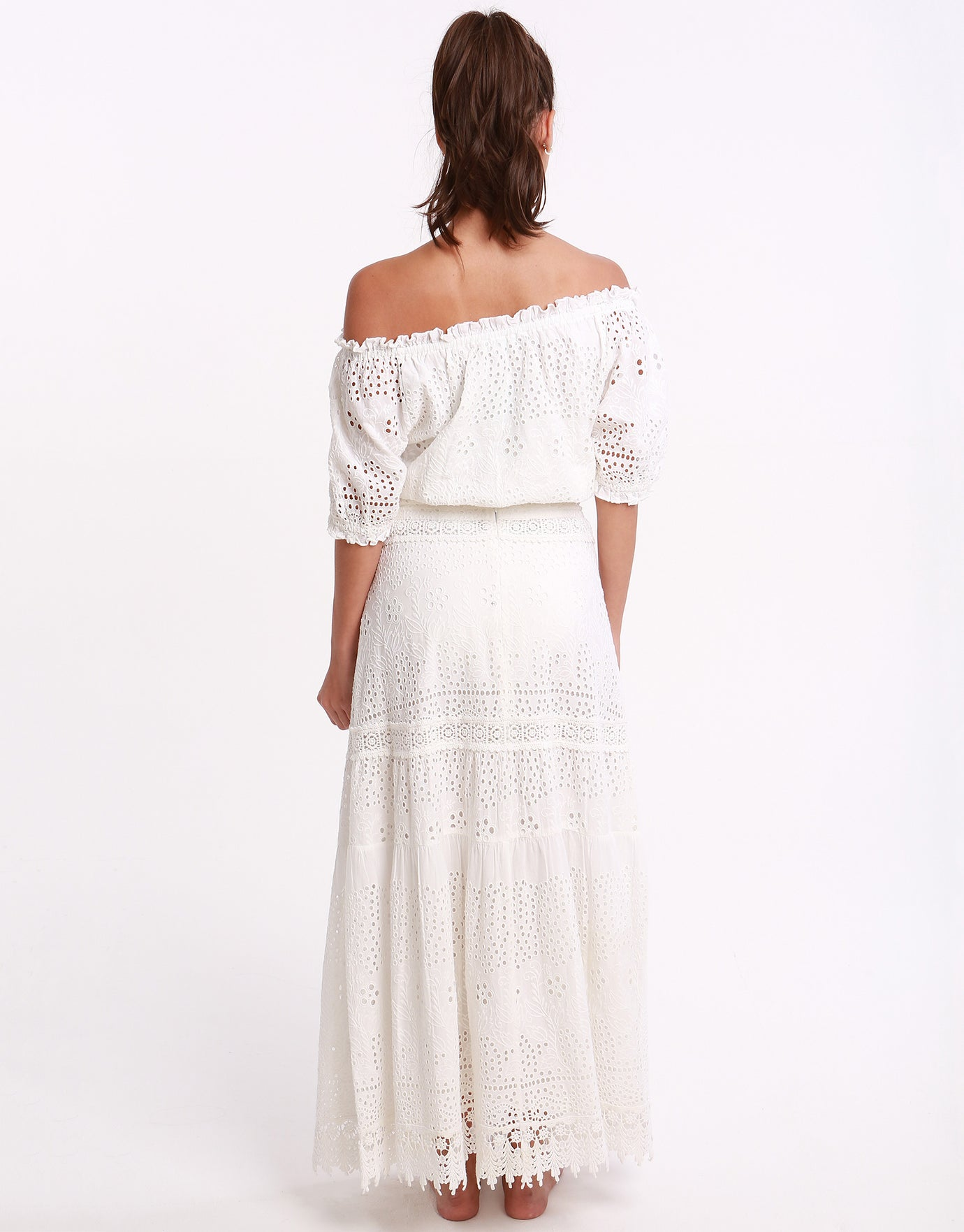 Melissa Odabash Francesca Off Shoulder Embroidered Frill Top - White