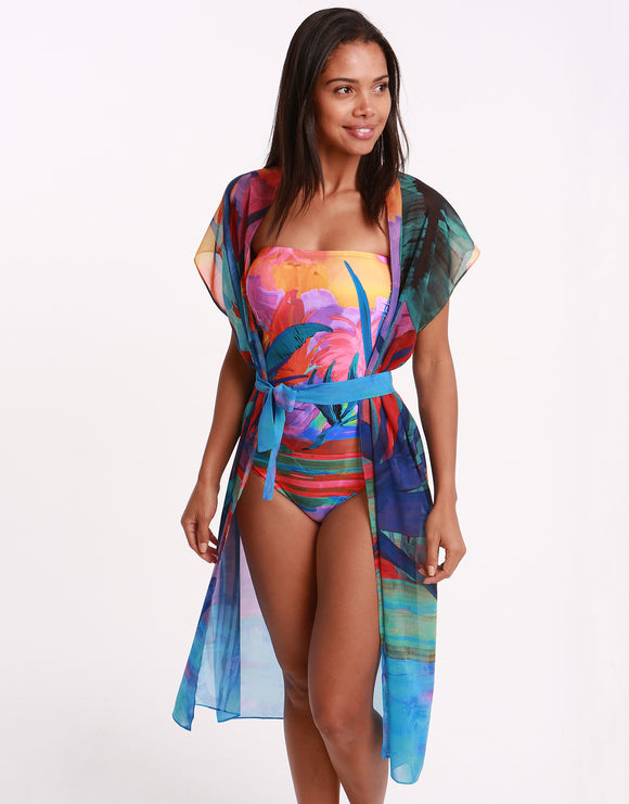 Gottex Indian Summer Open Kimono with Belt - Multi