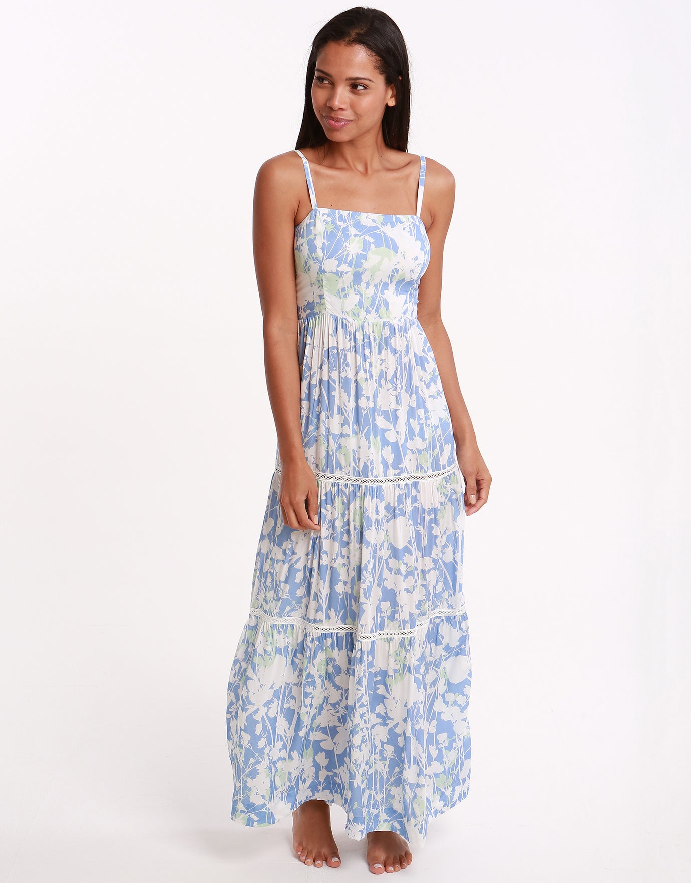 Heidi Klein Langkawi Square Neck Tiered Maxi Dress - Print