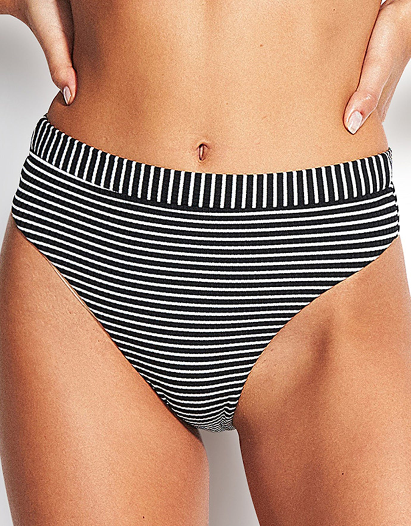 Seafolly Go Overboard High Rise Rio Bikini Bottom - Black