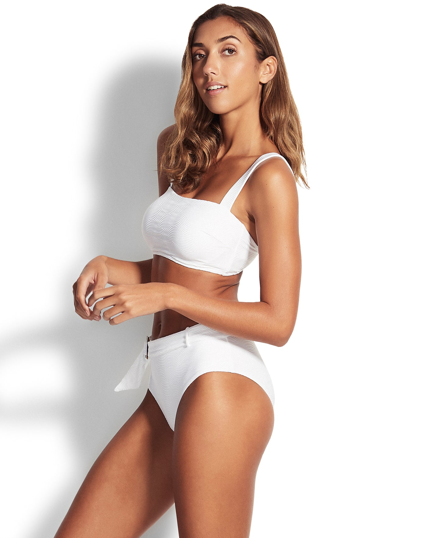Seafolly Capri Sea Wide Side Retro Bikini Bottom - White