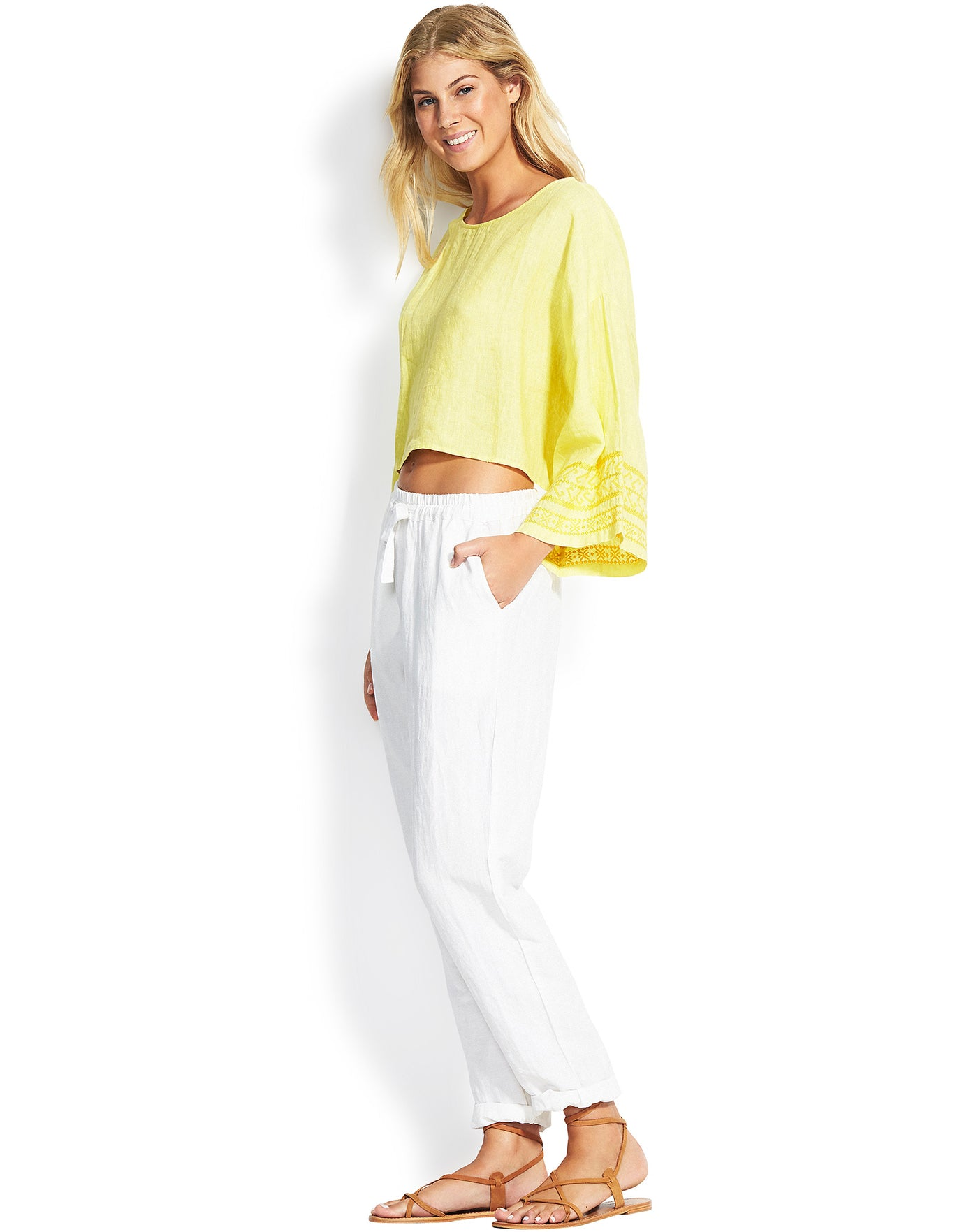 Seafolly Linen Drawcord Pants - White