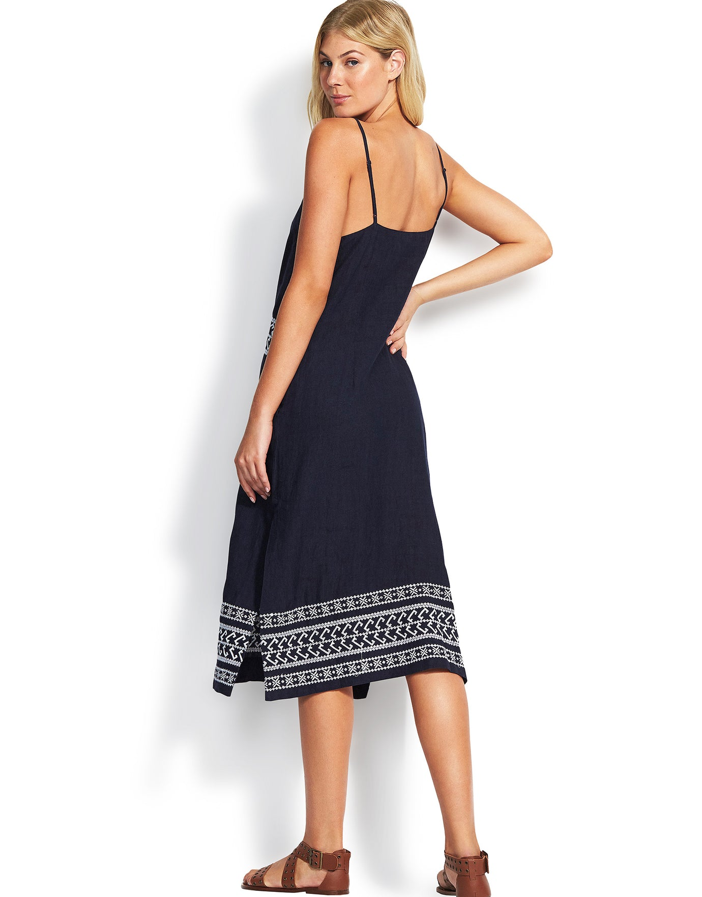 Seafolly Embroidered Linen Slip Dress - Indigo