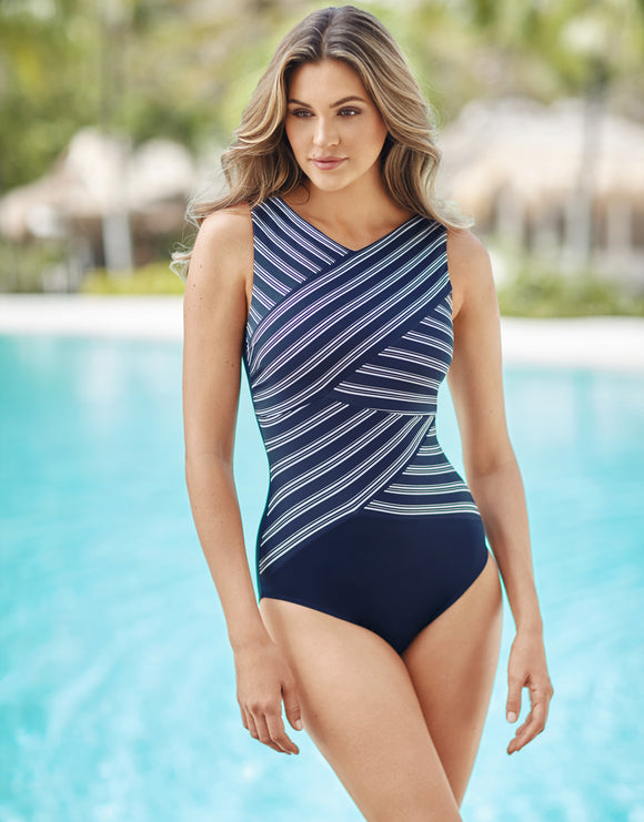 Miraclesuit Belmont Stripe Brio Swimsuit - Midnight
