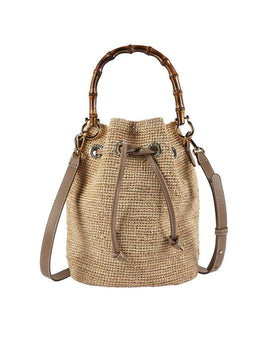 Heidi Klein Savannah Bay Super Mini Bamboo Duffle Bag - Natural