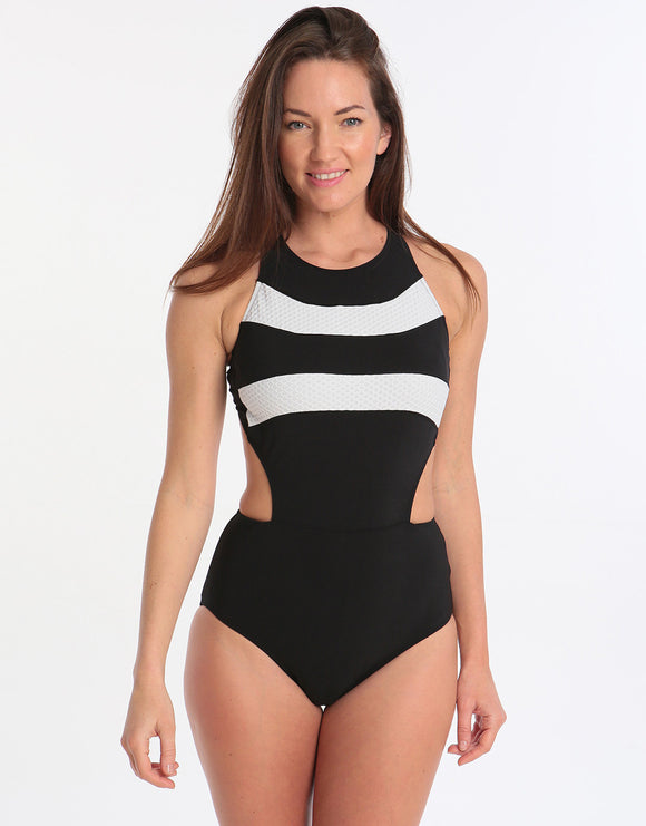 Gottex Profile Formula One Sports High Neck One Piece - Black White