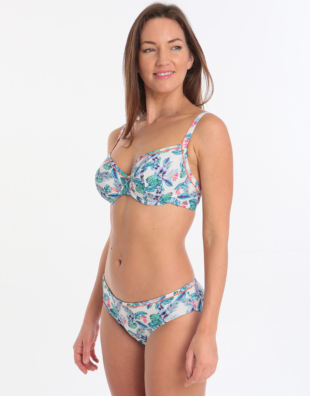 Panache Elle Balconnet Bikini Top - White Tropical