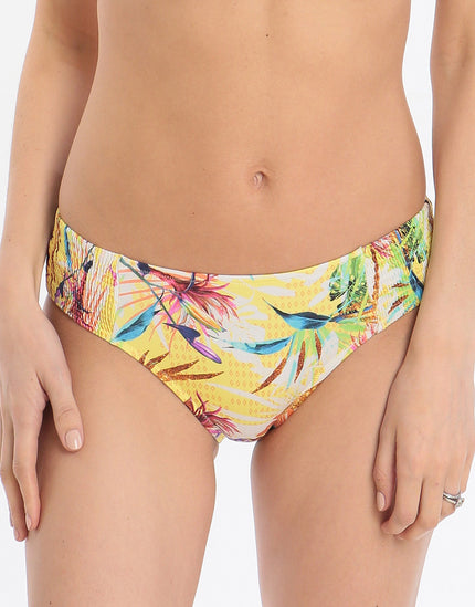 Hyper Tropics Ruched Side Brief - Tropical Sunshine