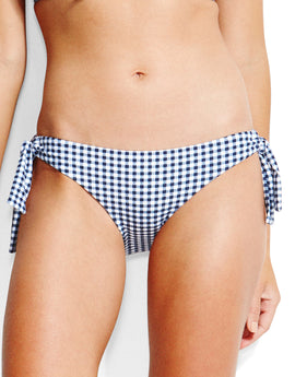 Seafolly Capri Check Loop Tie Side Hipster Bikini Bottom - Indigo