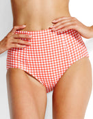 Seafolly Capri Check High Waisted Bikini Bottom - Chilli Red
