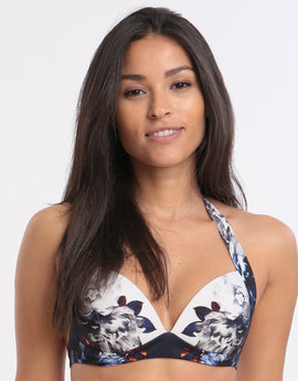 Jets Picturesque 50s Moulded Halter Bikini Top - Ink White