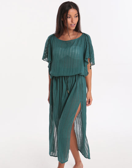 ViX Solid Lauren Caftan Beach Dress - Green