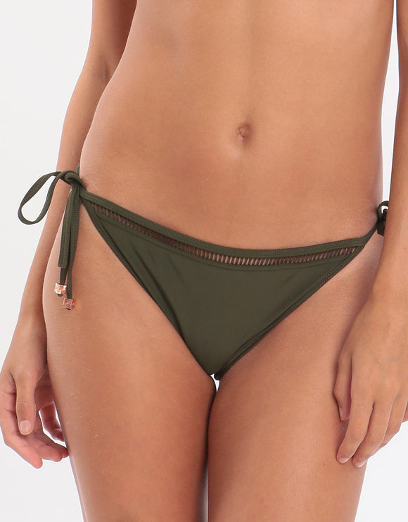 Ted Baker Plain Laddered Tie Side Bikini Bottom - Bottle Green