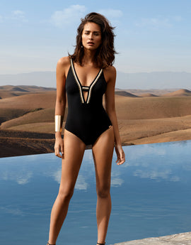 Maryan Mehlhorn Statement Plunge Swimsuit - Black Saraha
