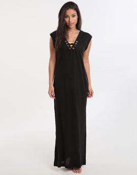 Seafolly Lace Up Jersey Maxi Beach Dress - Black