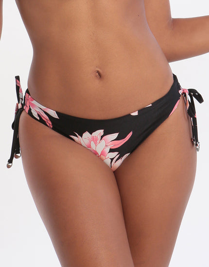 Seafolly Desert Flower Loop Tie Side Hipster Bikini Bottom - Black