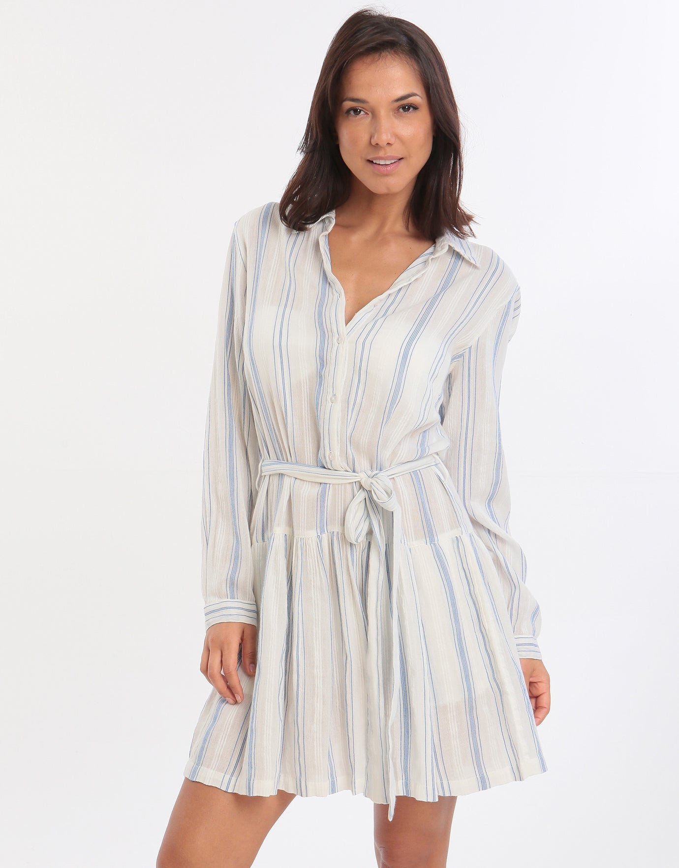 Melissa Odabash Amelia Belted Shirt Dress - Blue Stripe