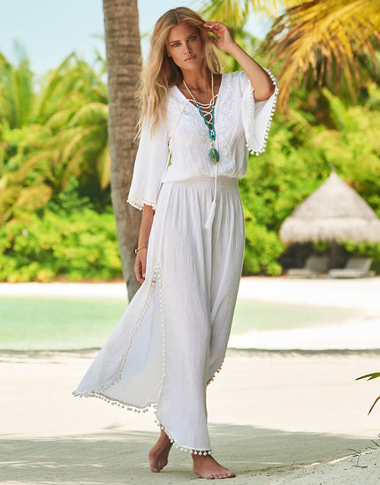 Melissa Odabash Kari Pom Pom Maxi Beach Dress - White