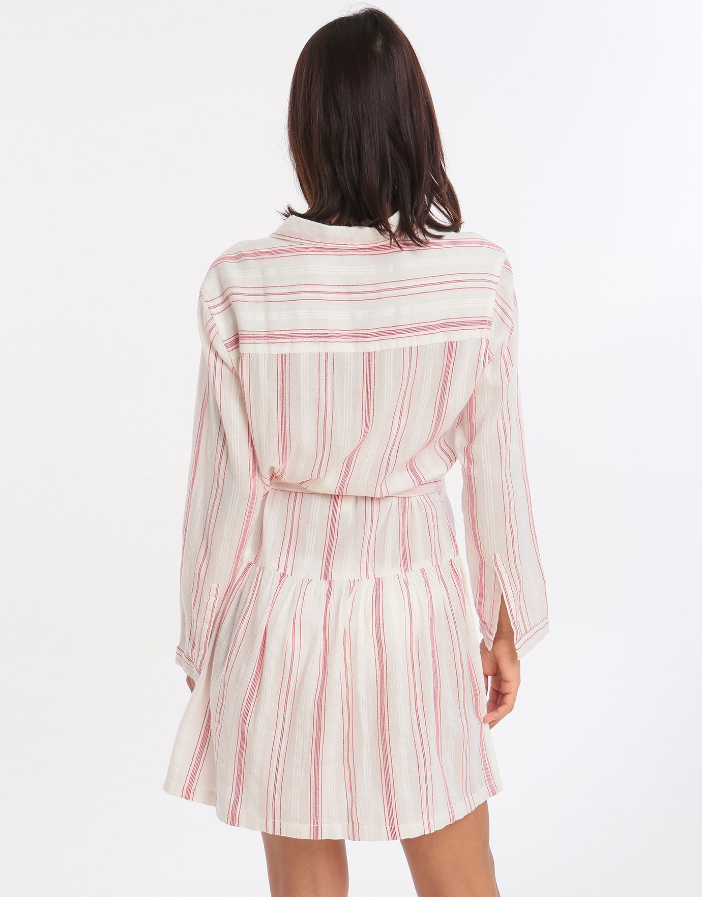 Melissa Odabash Amelia Belted Shirt Dress - Red Stripe
