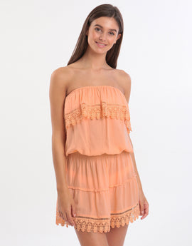 Melissa Odabash Joy Bandeau Lace Dress - Mango