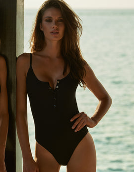 Melissa Odabash Calabasas Popper Front Swimsuit - Black Ribbed