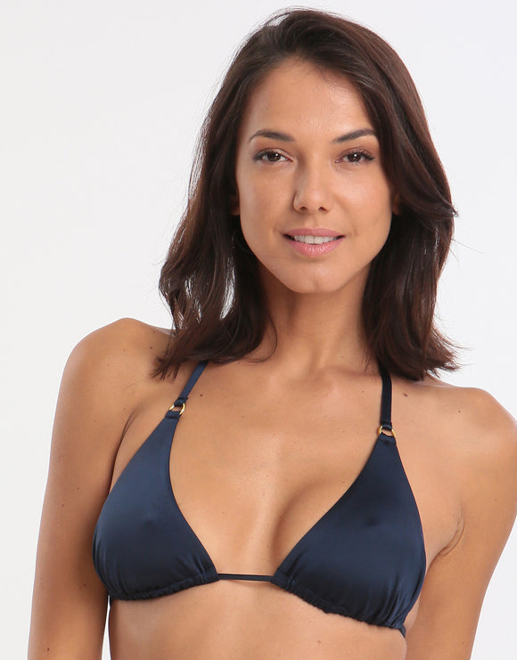 Jo Severin Alicia Ring Tri Bikini Top - Midnight
